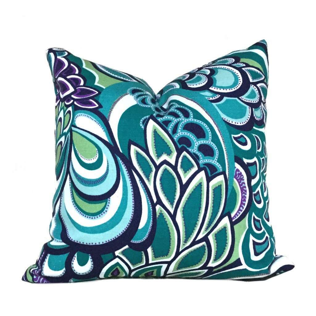 "Eileen Boyd Designer Retro Mod Teal Green Purple Floral Pillow Cover, Fits Lumbar 16"" 18"" 20"" 22"" 24"" Cushion Inserts"