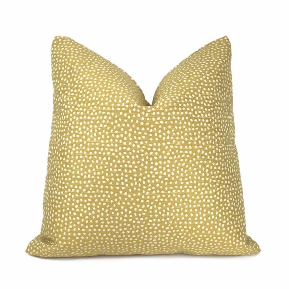 Ellis Zesty Yellow Small Scale Dots Woven Pillow Cover - Aloriam
