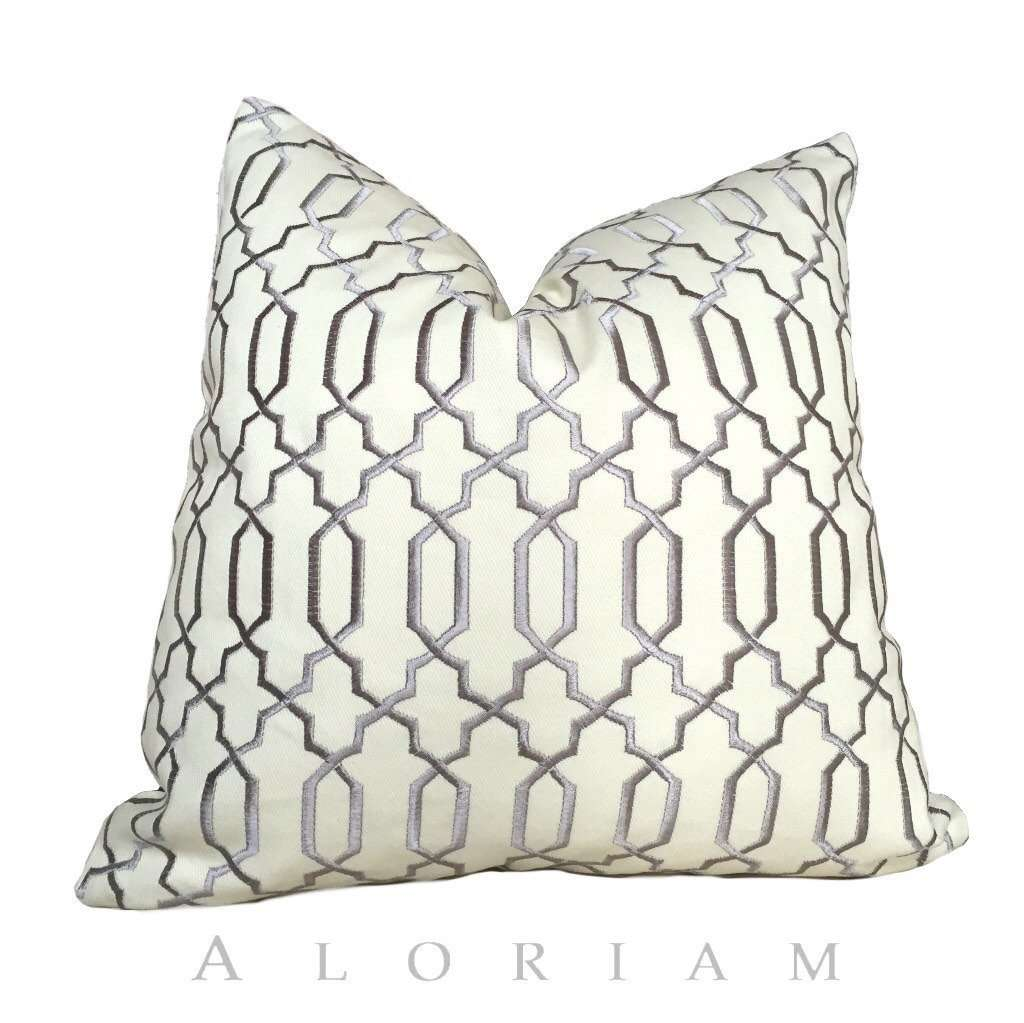 Robert Allen Gray Cream Embroidered Lattice Fretwork Pillow Cushion Cover