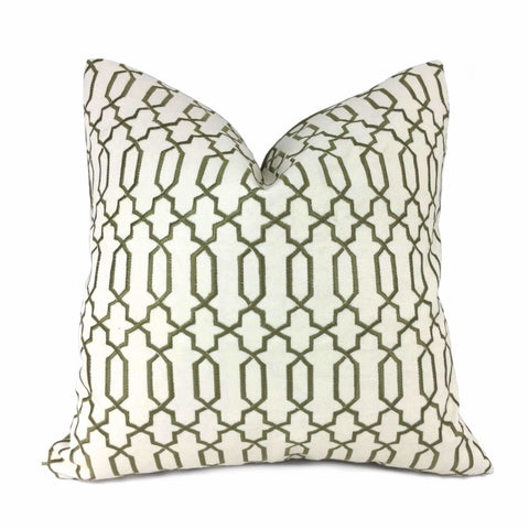 Elysa Green Olive & Cream Embroidered Geometric Fretwork Lattice Pillow Cover