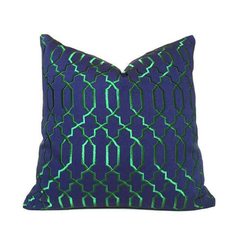 Elysa Navy Blue Emerald Green Embroidered Lattice Fretwork Pillow Cover Cushion Pillow Case Euro Sham 16x16 18x18 20x20 22x22 24x24 26x26 28x28 Lumbar Pillow 12x18 12x20 12x24 14x20 16x26 by Aloriam