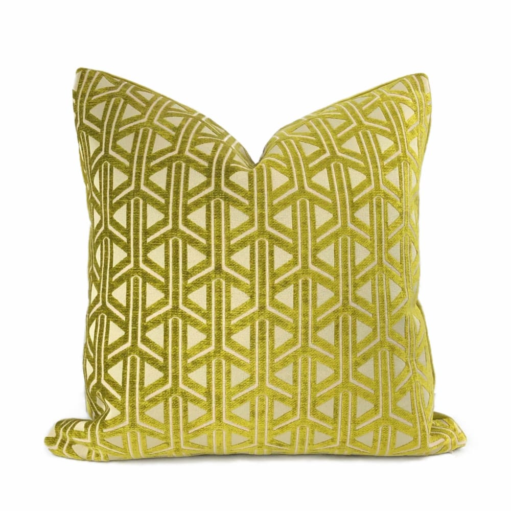 Emerson Chartreuse Wishbone Lattice Pillow Cover - Aloriam
