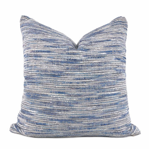 Erie Blue Tonal Slub Texture Chenille Pillow Cover - Aloriam