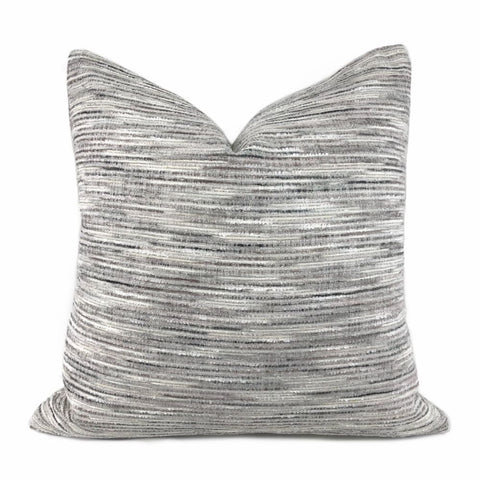 Erie Cream Gray Taupe Tonal Slub Chenille Pillow Cover - Aloriam