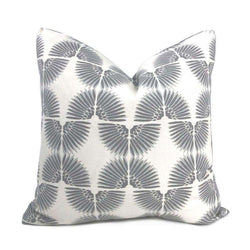 Erte Art Deco Fans Gray White Pillow Cover