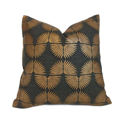 Erte Art Deco Fans Metallic Copper Black Cotton Print Pillow Cover
