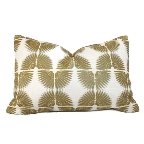 Erte Art Deco Fans Metallic Gold Cream Cotton Print Pillow Cover