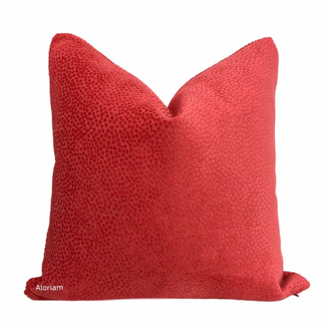 Esme Candy Apple Red Velvet Dots Pillow Cover - Aloriam