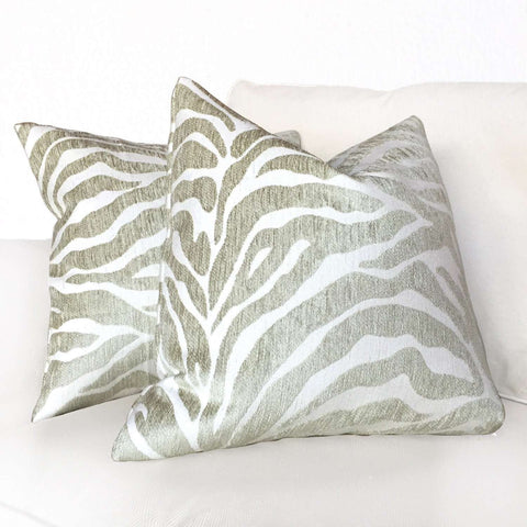Ethan Allen Beige Large Animal Stripe Zebra Tiger Designer Pillow Cushion Cover