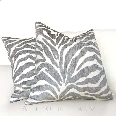 Ethan Allen Gray Large Animal Stripe Zebra Tiger Designer Upholstery Pillow Cushion Cover