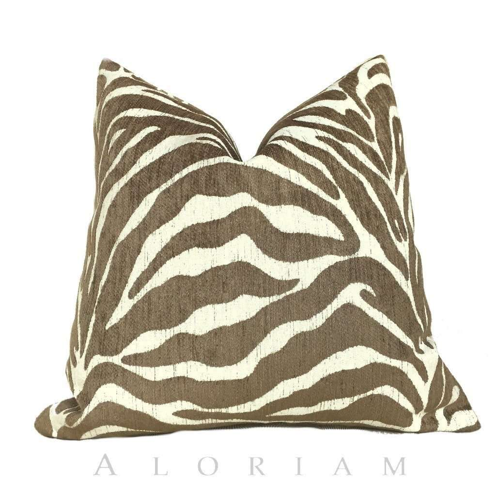 Ethan Allen Large Animal Stripe Zebra Tiger Brown Cream Pillow Cushion Cover