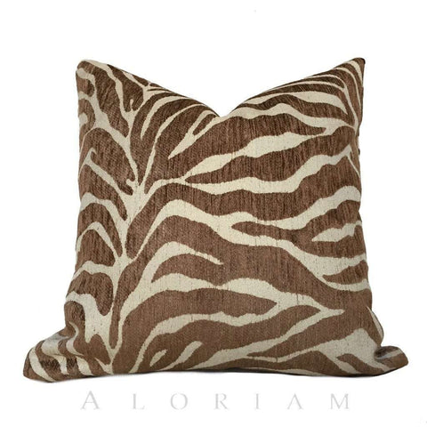 Ethan Allen Large Animal Stripe Zebra Tiger Brown Designer Upholstery Pillow Cushion Cover Cushion Pillow Case Euro Sham 16x16 18x18 20x20 22x22 24x24 26x26 28x28 Lumbar Pillow 12x18 12x20 12x24 14x20 16x26 by Aloriam