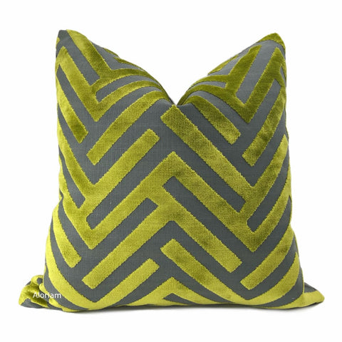 Euclid Chartreuse Gray Chevron Velvet Pillow Cover - Aloriam