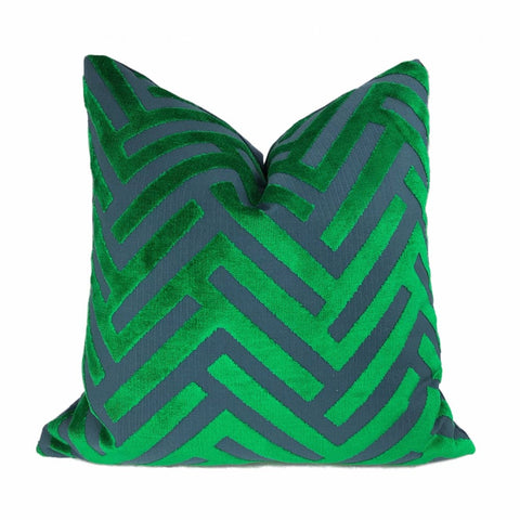 Euclid Green Blue Chevron Velvet Pillow Cover - Aloriam