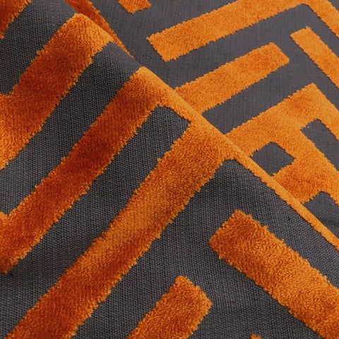Euclid Orange Gray Chevron Velvet Pillow Cover - Aloriam