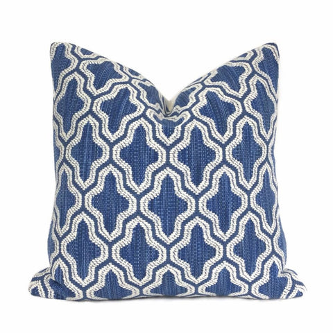 Ezra Blue White Moorish Tile Pillow Cover - Aloriam