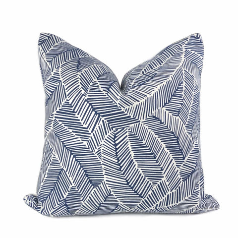 F Schumacher Abstract Leaf Navy Blue White Pillow Cover - Aloriam