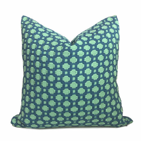 F Schumacher Betwixt Peacock Seaglass Blue Green Geometric Checks Pillow Cover - Aloriam