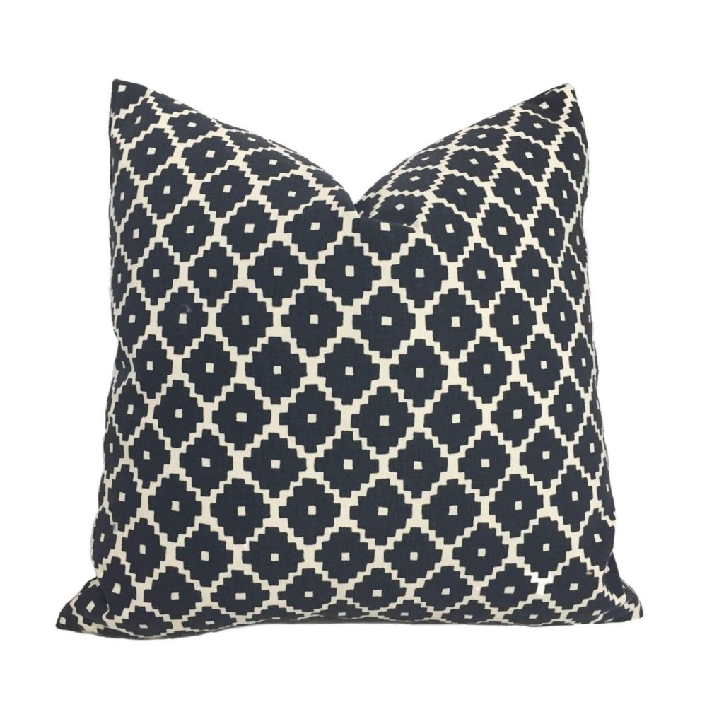 F Schumacher Ziggurat Navy Blue Cream Ethnic Geometric Decorative Throw Pillow Cover by Aloriam