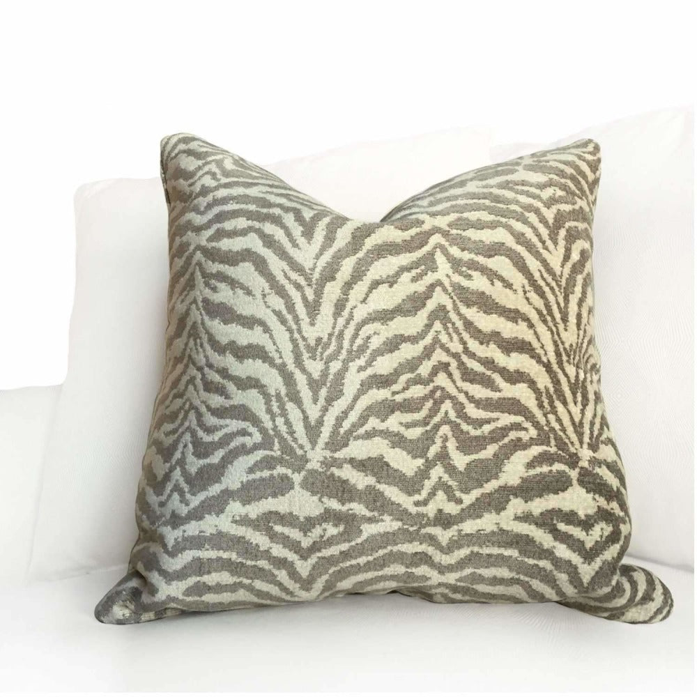 Designer Tiger Stripe Animal Print Beige Taupe Brown Pillow Cushion Cover