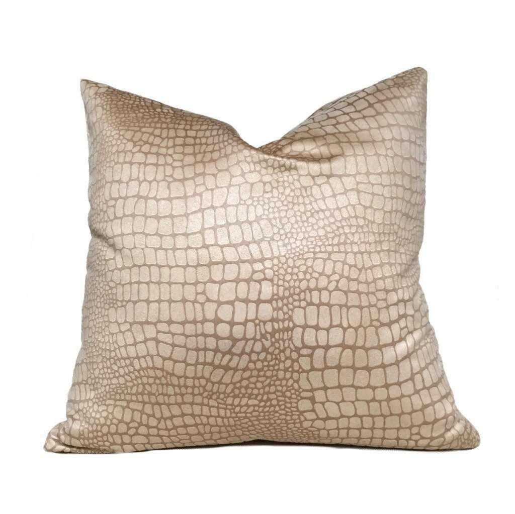"Fabricut Dundee Tan Faux Suede Alligator Crocodile Pattern Pillow Cover, Fits 12x18 12x24 14x20 16x26 16"" 18"" 20"" 22"" 24"" Cushion Inserts"