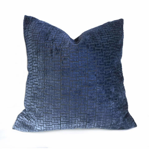 Fabricut Ink Blue Velvet Geometric Lattice Pillow Cover Cushion Pillow Case Euro Sham 16x16 18x18 20x20 22x22 24x24 26x26 28x28 Lumbar Pillow 12x18 12x20 12x24 14x20 16x26 by Aloriam