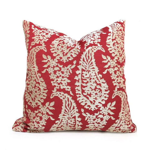 Fabricut Napoli Lacquer Red Gold Paisley Floral Pillow Cover by Aloriam Pillows