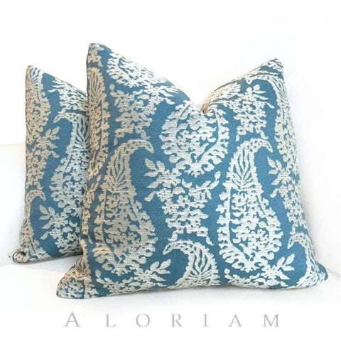 Fabricut Napoli Turquoise Teal Cream Paisley Motif Pillow Cushion Cover