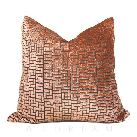 Fabricut Tangerine Orange Cut Velvet Geometric Lattice Pillow Cover Cushion Pillow Case Euro Sham 16x16 18x18 20x20 22x22 24x24 26x26 28x28 Lumbar Pillow 12x18 12x20 12x24 14x20 16x26 by Aloriam