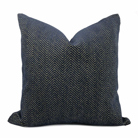 Fairfax Blue & Gold Herringbone Chevron Pillow Cover - Aloriam