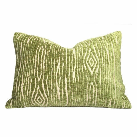 Faux Bois Wood Grain Green Beige Velvet Texture Pillow Cover (John Robshaw designer fabric) Cushion Pillow Case Euro Sham 16x16 18x18 20x20 22x22 24x24 26x26 28x28 Lumbar Pillow 12x18 12x20 12x24 14x20 16x26 by Aloriam