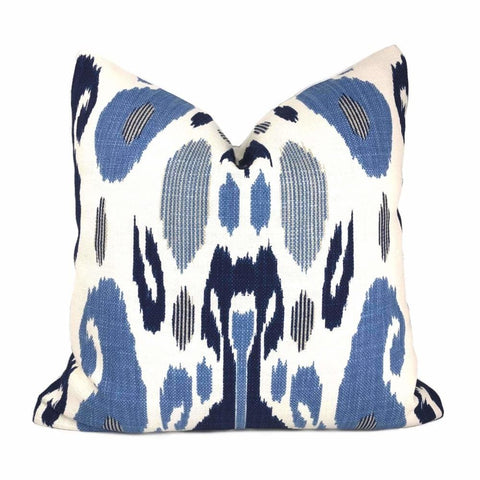 Fazil Ikat Blue White Cotton Linen Print Pillow Cover (John Robshaw Designer Fabric) Cushion Pillow Case Euro Sham 16x16 18x18 20x20 22x22 24x24 26x26 28x28 Lumbar Pillow 12x18 12x20 12x24 14x20 16x26 by Aloriam