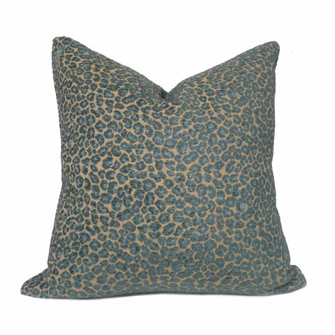 Felix Teal & Tan Brown Chenille Leopard Spots Pillow Cover