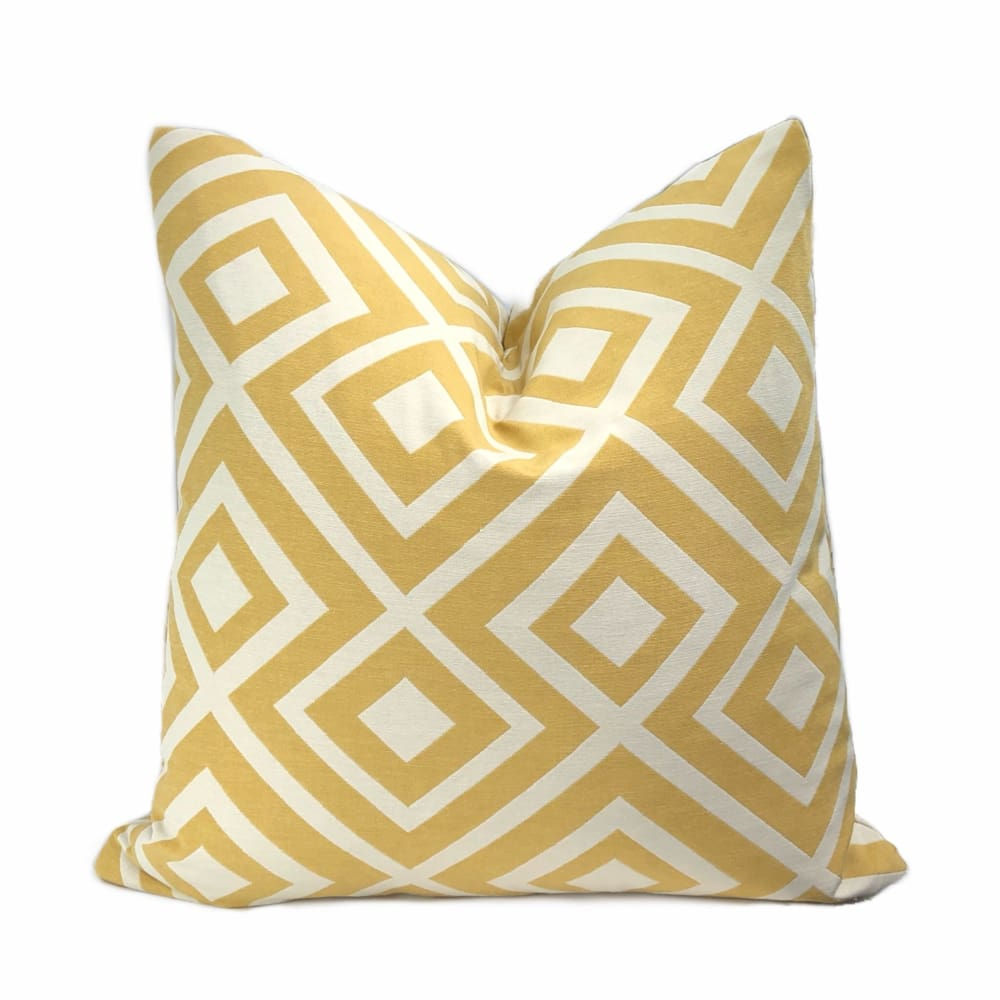Fenwick Maize Yellow Cream Geometric Lattice Pillow Cover - Aloriam