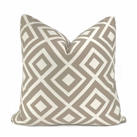 Fenwick Taupe Brown Cream Geometric Lattice Pillow Cover - Aloriam