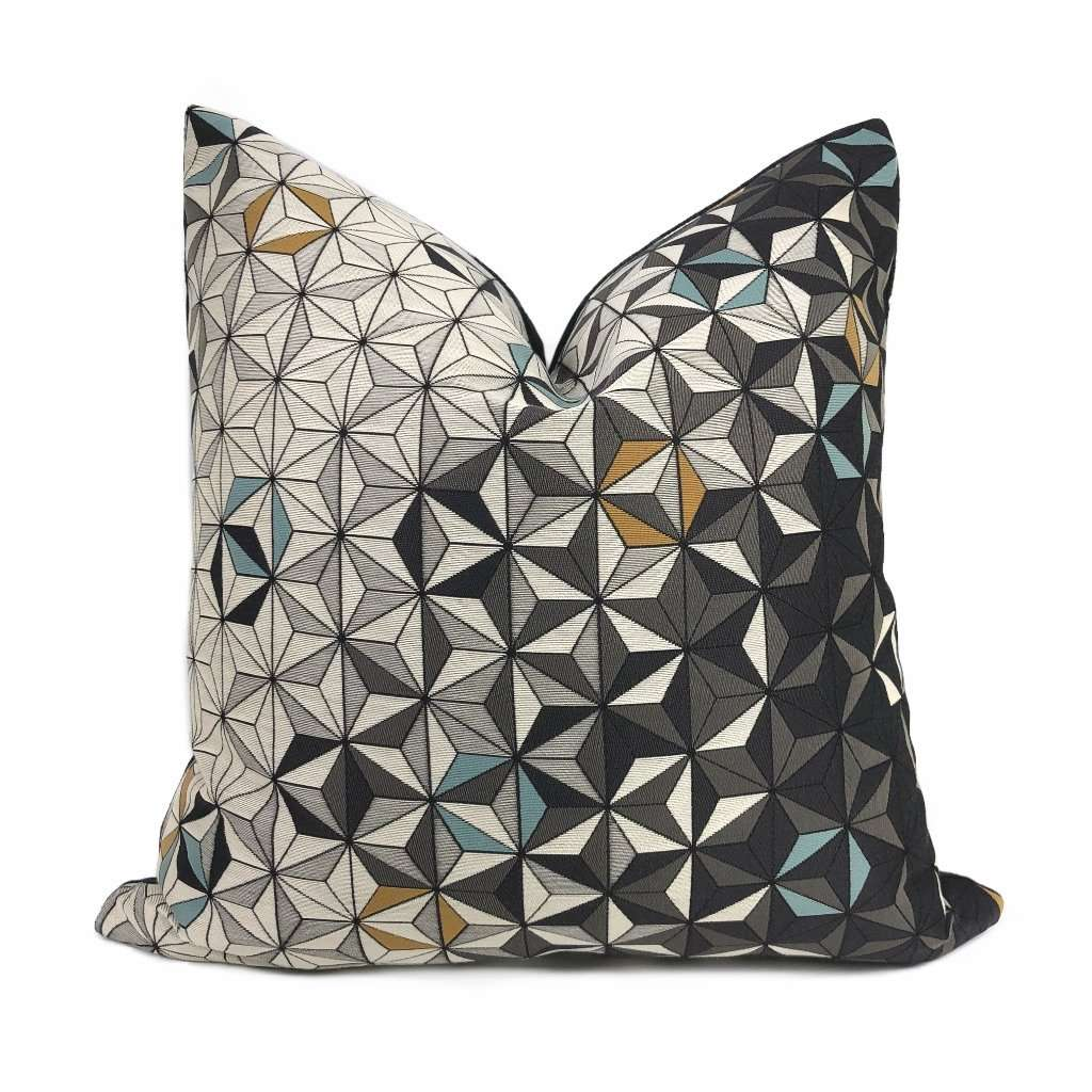Fereio Gray Blue Mustard Tessellated Triangles Pillow Cover Cushion Pillow Case Euro Sham 16x16 18x18 20x20 22x22 24x24 26x26 28x28 Lumbar Pillow 12x18 12x20 12x24 14x20 16x26 by Aloriam
