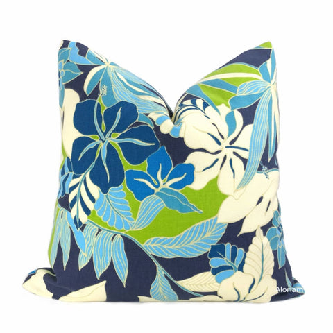 Fiji Blue Green White Tropical Floral Pillow Cover - Aloriam