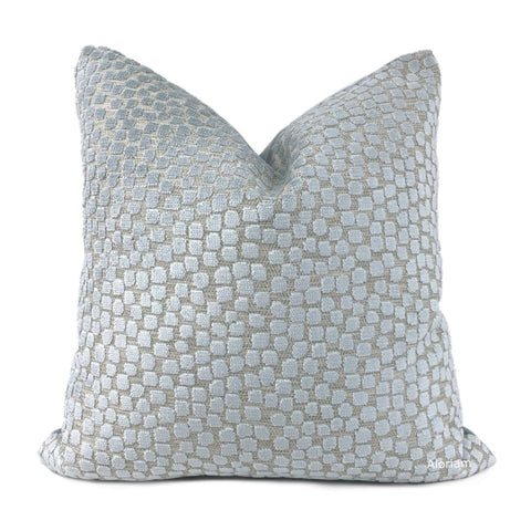 Flurries Seaspray Pale Blue Cut Velvet Dots Pillow Cover - Aloriam