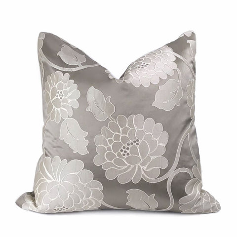 Fontaine Warm Gray Floral Satin Jacquard Pillow Cover - Aloriam