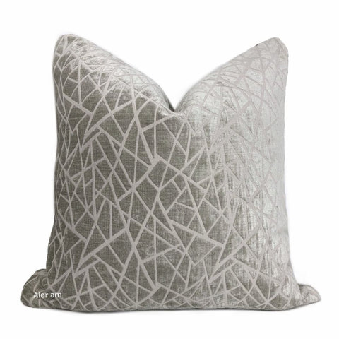 Fractal Gray Stone Modern Geometric Chenille Pillow Cover - Aloriam