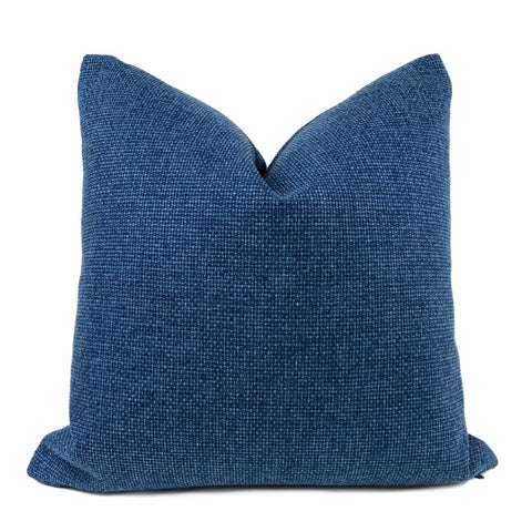 Frazier Marine Blue Basketweave Pillow Cover - Aloriam