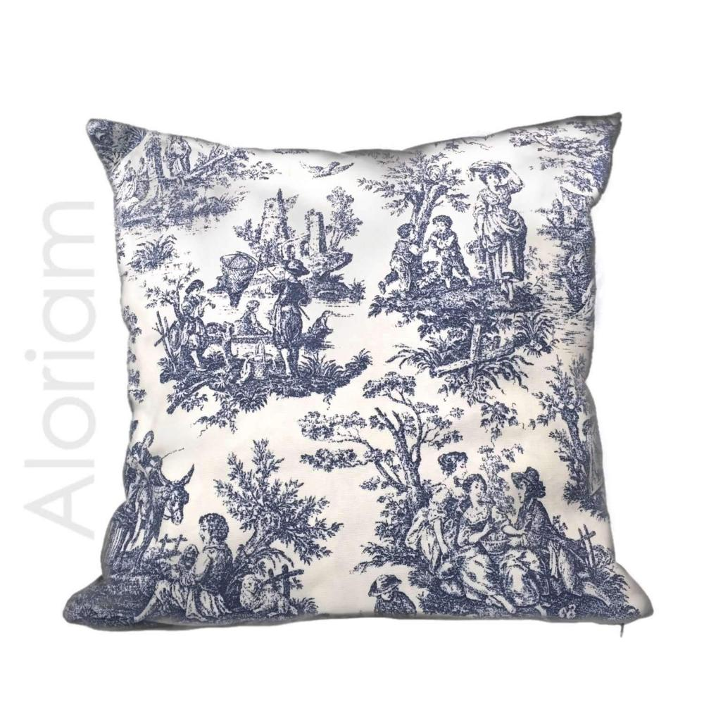 Waverly Rustic Toile Navy Blue White Pillow by Aloriam