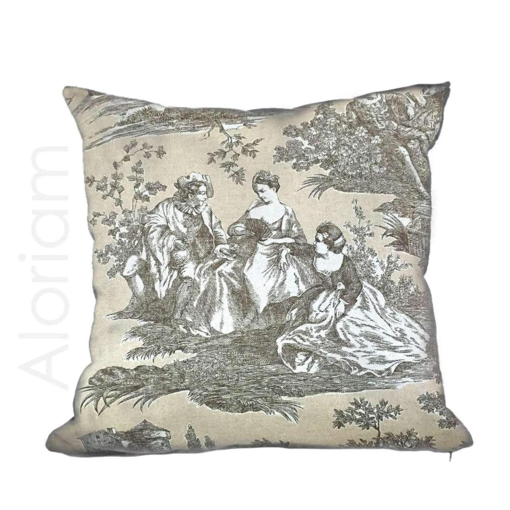 French Country Toile Cotton Print Waverly Idyllic Days Pillow Cushion Cover