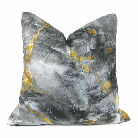 Gaia II Earth Minerals Gold Gray White Multicolor Microfiber Velvet Pillow Cover - Aloriam