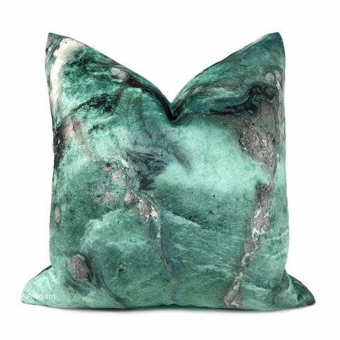 Gaia II Earth Minerals Jade Green Gray Multicolor Microfiber Velvet Pillow Cover - Aloriam
