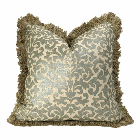 Gainsborough I Sage Green Beige Baroque Floral Damask Fringed Pillow Cover - Aloriam