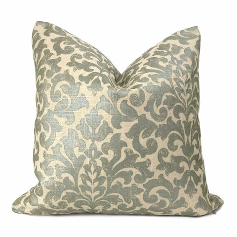 Gainsborough II Sage Green Beige Baroque Floral Damask Fringed Pillow Cover - Aloriam