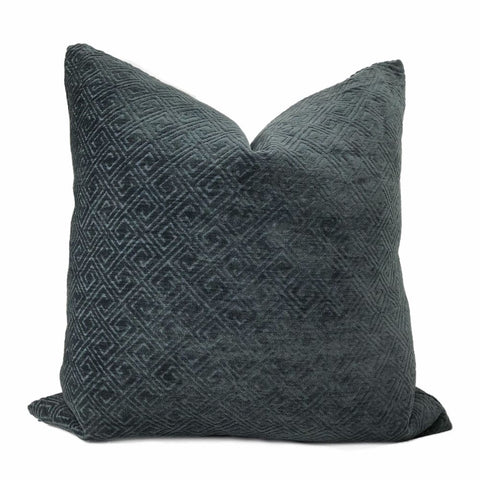 Gaius Dark Navy Blue Greek Key Chenille Pillow Cover - Aloriam