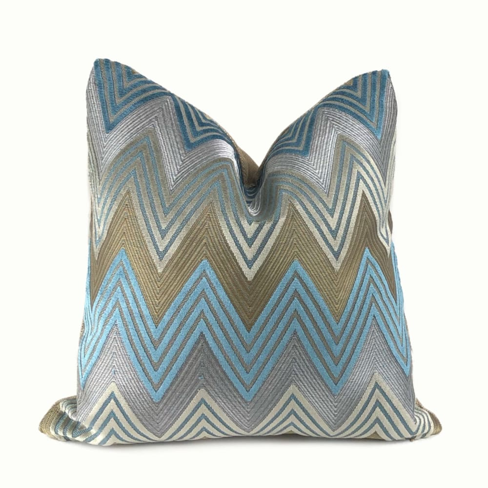 Gatsby Bronze Blue Gray Velvet Chevron Pillow Cover - Aloriam