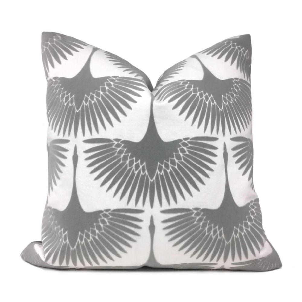 Genevieve Gorder Crane Flock Velvet Gray White Pillow Cover
